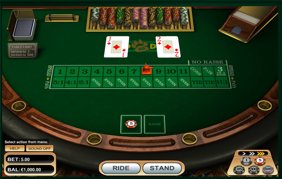 Red Dog Poker Table Game