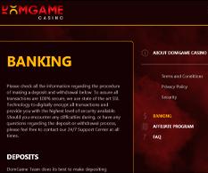 DomGame Casino Banking